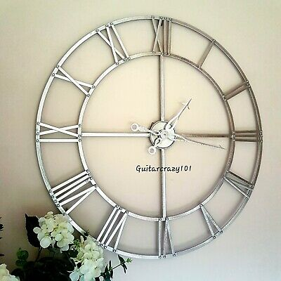 Large SKELETON WALL CLOCK metal silver foil effect finish WALL MOUNTED 80cm