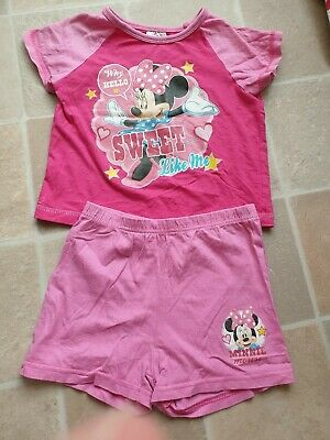 Cute Disney Minnie Mouse Short Pyjama Set Pink 3-4 Years Good Used Condition