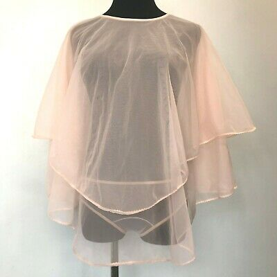 Vintage See Through Sheer Nylon Pink Cape Poncho Lingerie size S with Panties PJ