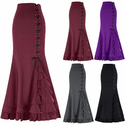 Women Vintage Gothic Long Steampunk Skirts Mermaid Maxi Fishtail Solid Dress New