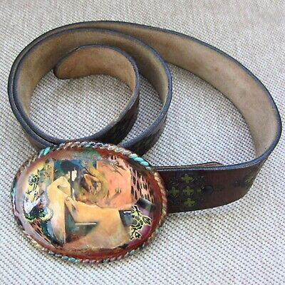 Women's Tooled Brown Leather Belt with Dragon Lady Design Enameled Oval Buckle