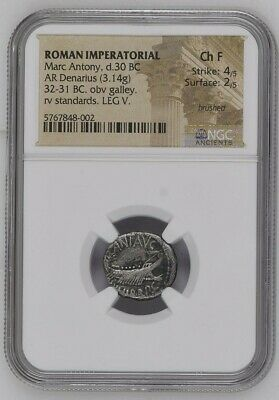 30 Bc Silver Roman Imperatorial Marc Antony Denarius War Galley Ngc Choice F