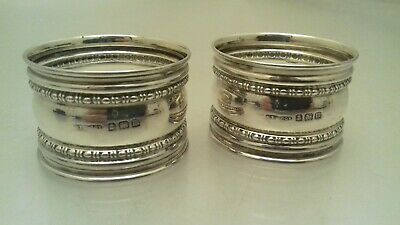 Antique Sterling Silver Matching Napkin Rings 1911 29 G