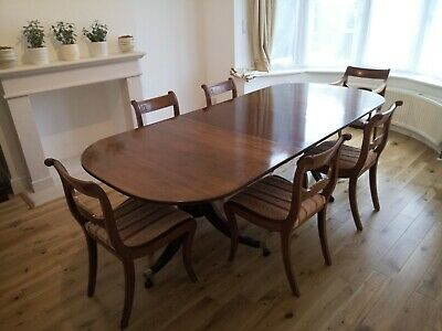 Antique Regency Style Twin Pedestal Mahogany Dining Table For 6/8 With 6 Chairs