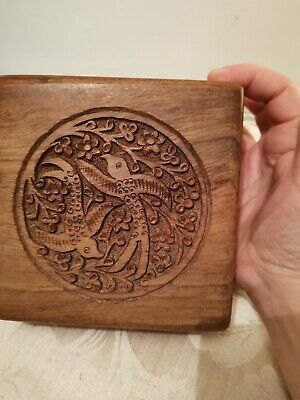 Indian Carved Engraved Birds  Wooden Box