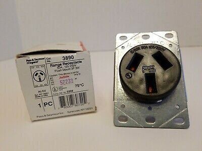 New 3890 Range Receptacle 3 Wire 50 Amp 250 Volt Pass & Seymour (Hh4)