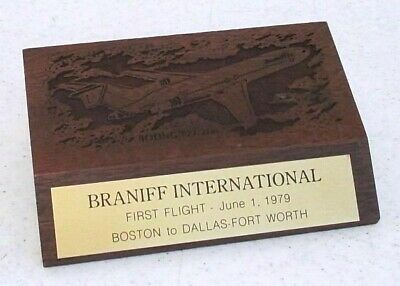 BRANIFF Int'l Wood Paperweight First Flight 6/1/79 Boston to DFW Boeing 727-200