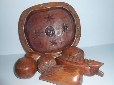 Hand Carved Wooden Tray with Beautifully Carved Fruit
