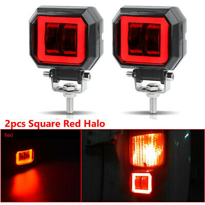 2X 20W 3inch LED Work Light Bar Spot Pods Offroad Fog Driving 4WD ATV Red Halo