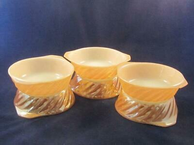 Fire King Peach Luster Swirl Individual Casserole Bowls with Tab Handles (6)