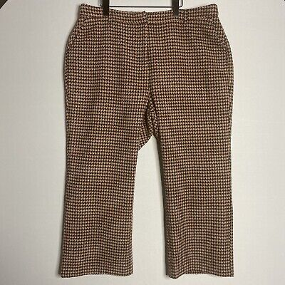 Modcloth sz 18 Houndstooth Moment Wideleg Pants Wool Blend Women's Brown NEW