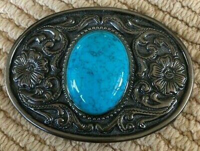 Western Belt Buckle with Blue stone
