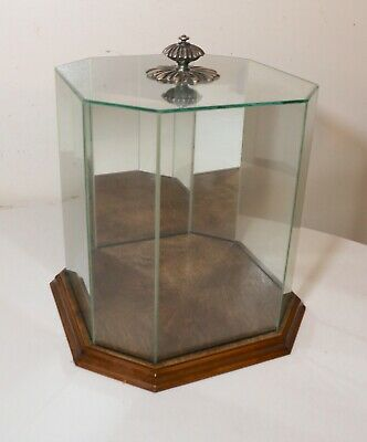 vintage antique glass wood silver countertop 8 sided statue display show case
