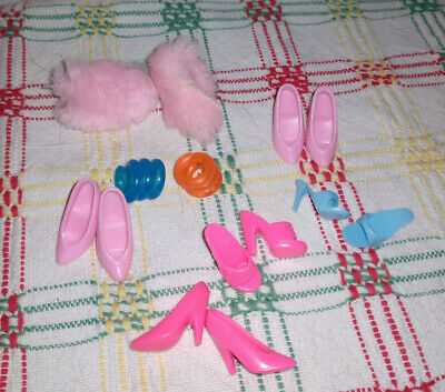 Mattel Barbie doll Lot of 5 pairs of shoes, slippers, bracelettes