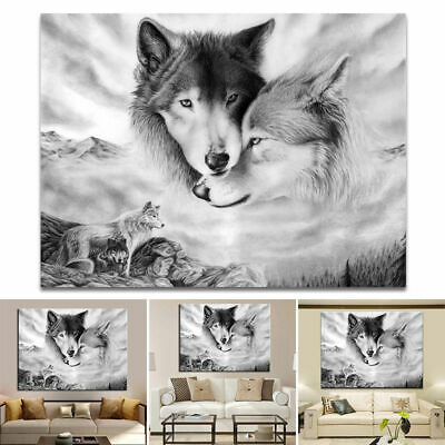 New Wolf Black&White Nature Canvas Home Hanging Picture Wall Art Painting Decor