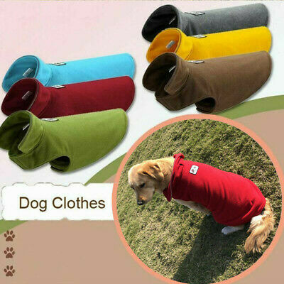 UK Pet Dog Warm Coat Fleece Jacket Jumper Sweater Hoodie Winter Protector Outfit