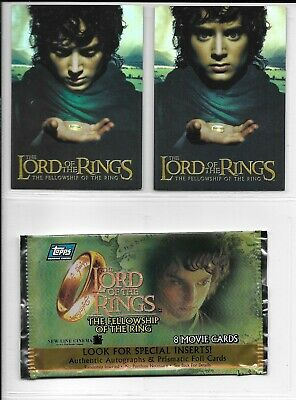Topps Lord of the Rings FELLOWSHIP HOLO FOIL BOX TOPPER Set 1,2 + Wrapper 2001