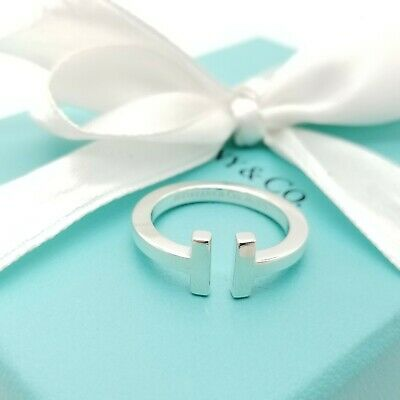 Tiffany & Co. Sterling Silver T Square Ring Band Ring Size 7 with Pouch & Box
