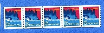 """Scott 3693 (Strip of 5 Coil Stamps): """"5c Sea Coast""""; MNH; Issued 10/21/2002"""