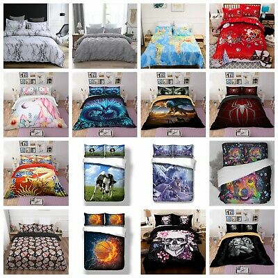 Soft Duvet Quilt Cover HD Print Bedding Set with Pillow Cases Single Double King