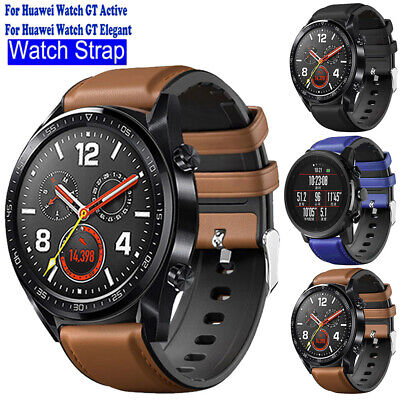 Luxury Comfy Leather & Silicone Wrist Watch Band Strap for Huawei Watch GT/2 Pro