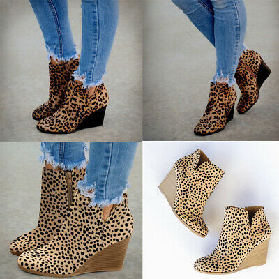 Fashion Womens Ladies Girls Leopard Wedges Ankle Zipper Short Boots Bootie Shoes