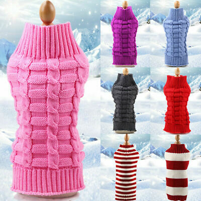 Winter Warm Knitted Puppy Dog Jumper Sweater Pet Clothes For Small Dogs Coat UK