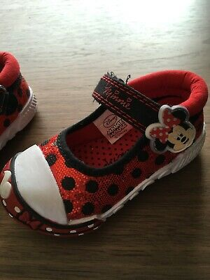 Little Girls Disney Minnie Mouse Shoes Uk 4 Infant Sparkle Red Black White