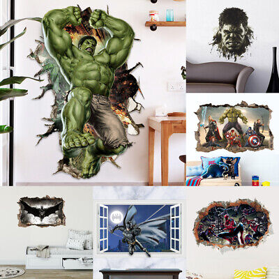 3D Cartoon Super Hero Avengers Hulk Art Wall Sticker Kids Room Decor Vinyl Decal