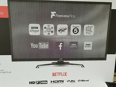 "JVC 32"" SMART Full HD LED TV Netflix,WiFi with BOX BROKEN SCREEN !!! BROKEN !!!"
