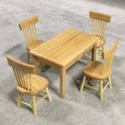 5Pcs Doll House Wooden Table Chair 1:12 3D Kitchen Furniture Toys Set Simulation