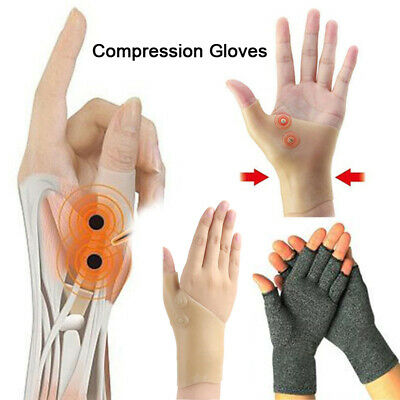 Compression Fingerless Gloves Arthritis Brace Support Pain Relief Magnetic Gel
