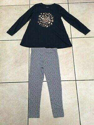 La Redoute Girls 2 Piece Outfit Tunic/Dress & Leggings Age 8 Years NEW Navy/Grey