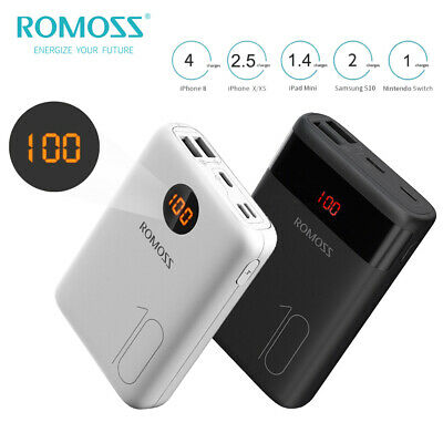 ROMOSS LCD Power Bank 10000mAh Dual USB Battery Charger Backup for Mobile Phone
