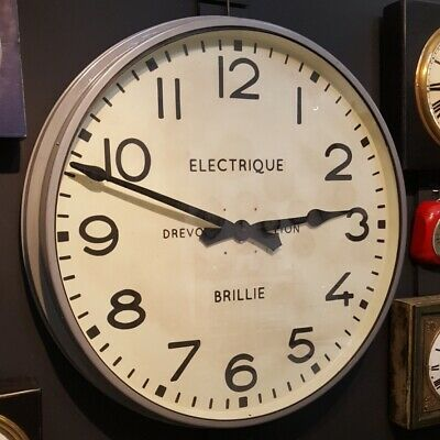 Large Vintage Railway ,Station, Industrial, Factory ,Metal Wall Clock, Retro