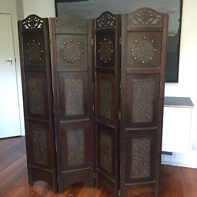 Antique Carved Ornate Wooden Panelled Room Divided Chinese screen