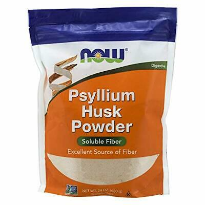 New NOW Foods Psyllium Husk Husks Powder Soluble Fiber Non GMO Vegan 24 oz 680 g