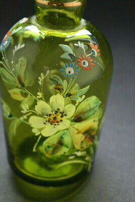 Vintage Green Glass Decanter Bottle with stopper hand blown , hand painted