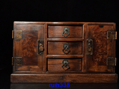 """14.4"""" Collection Asia China old antique Rosewood Cabinet"""