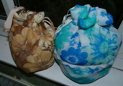 2 x vintage dolly bags with plastic rollers curlers and pins - display prop