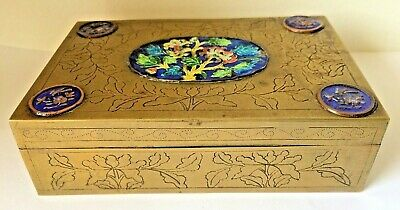 Antique Chinese Brass Engraved Chased Cloisonne Box