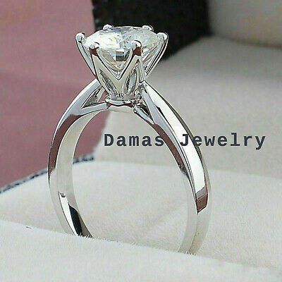1.01ct Round Forever D/ VVS1 Moissanite Engagement Ring Solid 14K White Gold