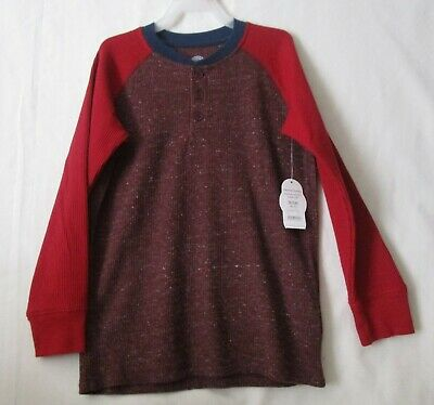 Wonder Nation Boys Thermal Henley *2 Pack* Wine /& Flannel Gray Heather S XL NWT