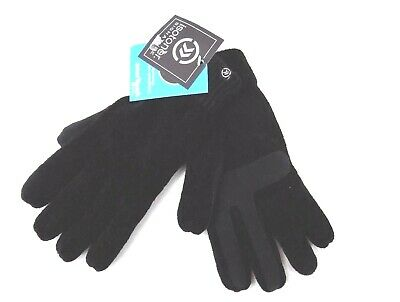 Isotoner Signature Smartouch Gloves Black Chenille One Size Soft Retail $36