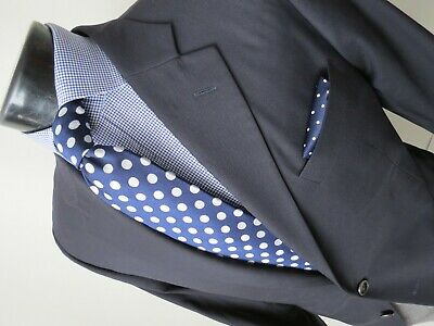 Hickey Freeman Beacon wool cashmere side vented navy blue sport coat 46 R