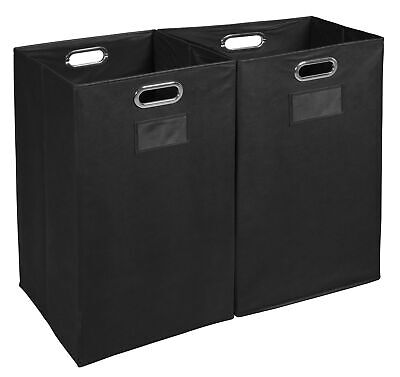 Niche Foldable Fabric Laundry Bin- Black (Set of 2)