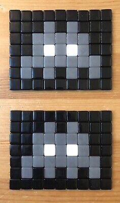 x2 Space Invader Mosaic Art Classic Invader Black Grey White