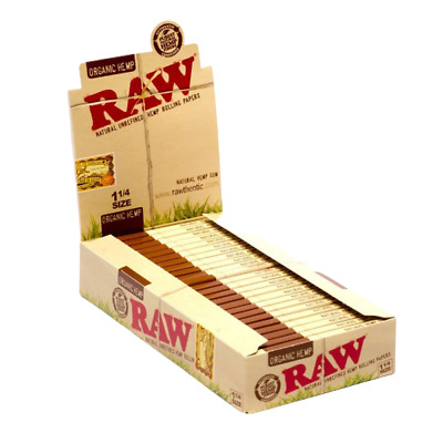 Raw Unrefined Organic Hemp 1 1/4 Size Rolling Papers - 24 Per Box