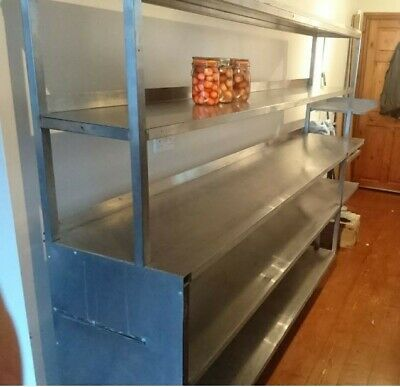 Large Stainless Steel Catering Shelving Unit, 3.12m long x 1.74m high.