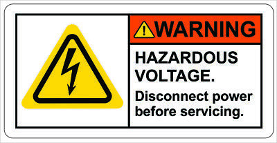 Warning Hazardous Voltage Disconnect Power Sticker Label Decal Sign Free Ship